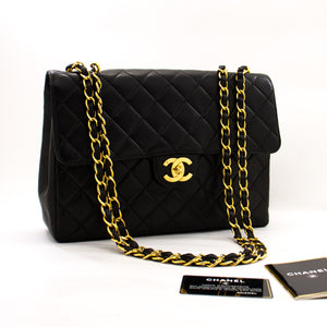 "CHANEL Jumbo 11 ""Large Chain Shoulder Bag Flap Black Lambskin z65 hannari-shop"