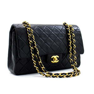 "CHANEL 2.55 Double Flap 10 ""ሰንሰለት የትከሻ ቦርሳ ጥቁር ላምብስኪን b86 ሀናሪ-ሱቅ"