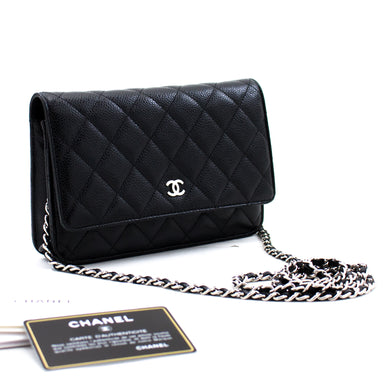 CHANEL Caviar Wallet On Chain WOC Black Shoulder Bag Crossbody c05 hannari-shop