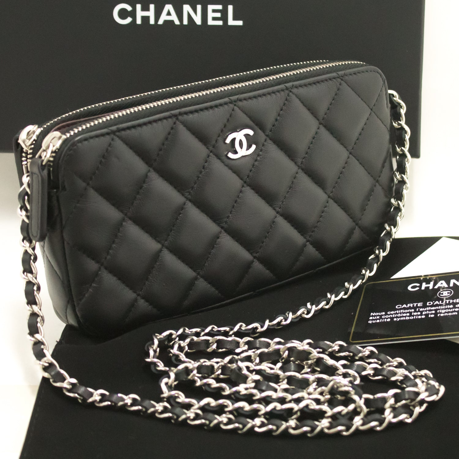 a5f95b8e1c3c ... CHANEL Lambskin Wallet On Chain WOC Double Zip Chain Shoulder Bag L02- Chanel-hannari ...