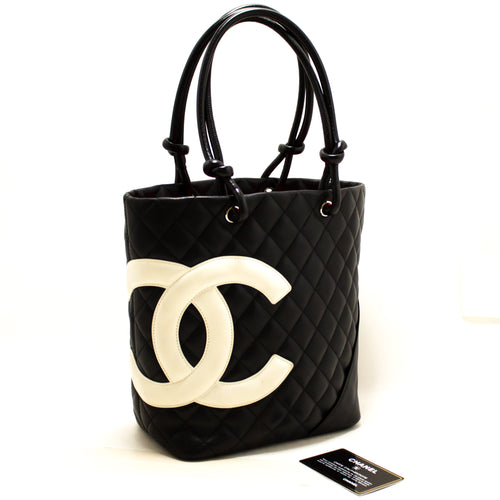 CHANEL Cambon Tote Small Shoulder Bag Black White Quilted Calfskin s45