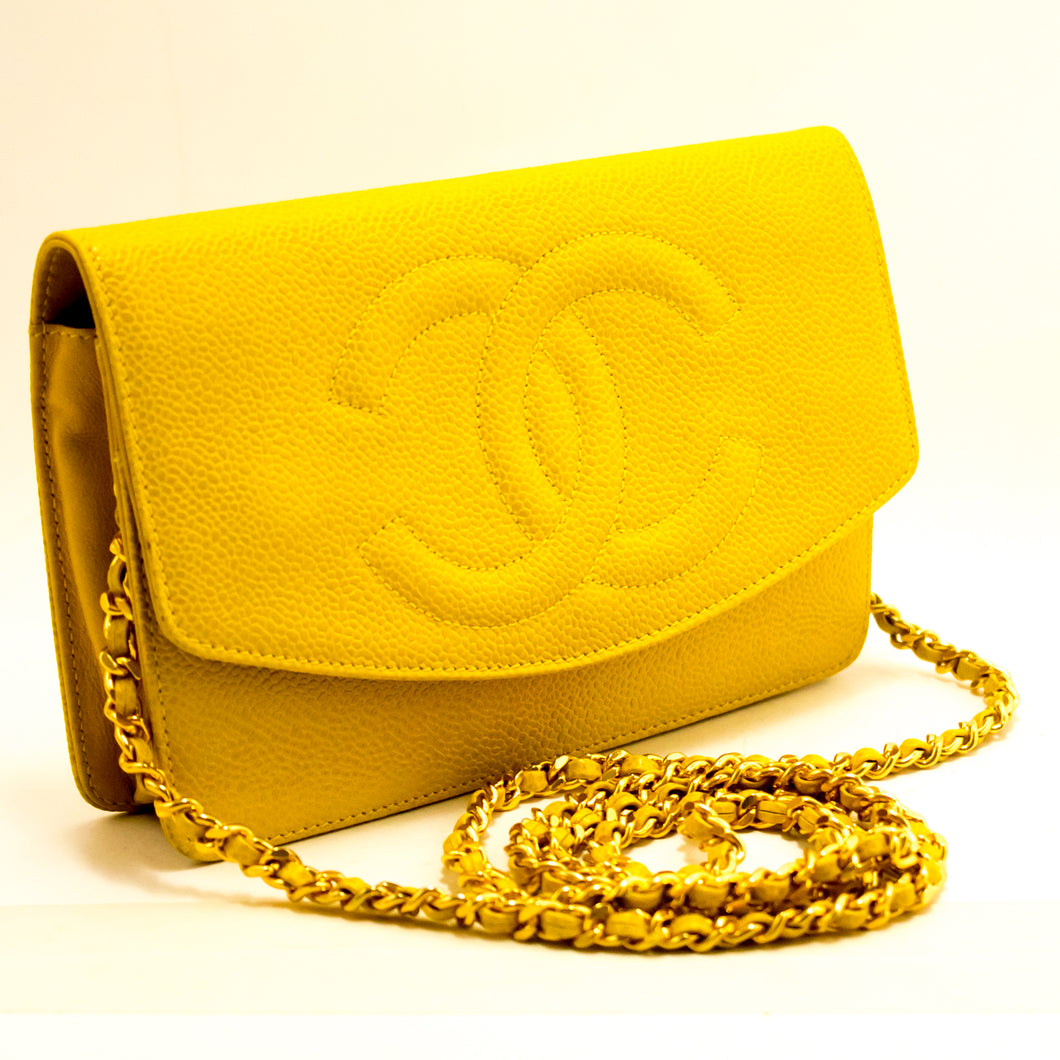 CHANEL Caviar Wallet On Chain WOC Yellow Shoulder Bag Crossbody L09-Chanel-hannari-shop