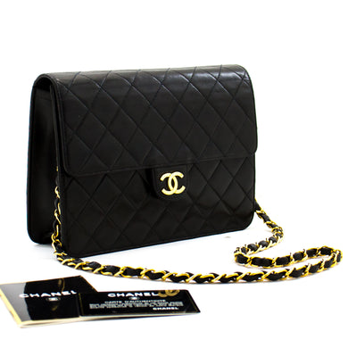 CHANEL Small Chain Shoulder Bag Clutch Black Quilted Flap Lambskin c02 hannari-shop