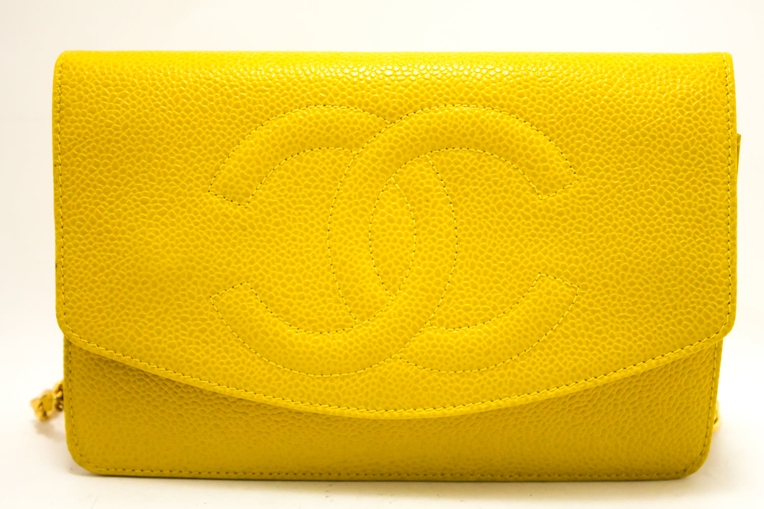 a32f7bef2b868b ... CHANEL Caviar Wallet On Chain WOC Yellow Shoulder Bag Crossbody  L09-Chanel-hannari- ...