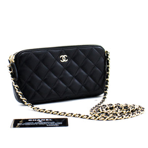 CHANEL Lambskin Wallet On Chain WOC Double Zip Chain Shoulder Bag c16 hannari-shop