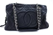 CHANEL Caviar Chain Shoulder Bag Black Quilted Leather Silver Zip R64