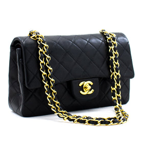 "CHANEL 2.55 Double Flap 9 ""Chain Shoulder Bag Black Lambskin c08 hannari-shop"