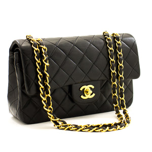 "CHANEL 2.55 Double Flap 9 ""Chain Shoulder Bag Black Lambskin Purse a12 hannari-shop"