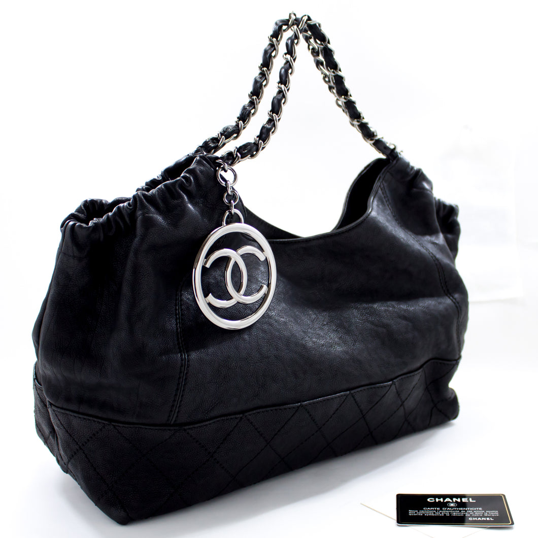 CHANEL Coco Cabas Calfskin Chain Shoulder Bag Black Quilted Tote s59