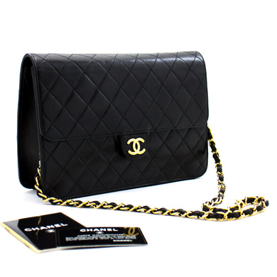 CHANEL Chain Shoulder Bag Clutch Black Quilted Flap Lambskin c10 hannari-shop