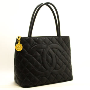 CHANEL Caviar Gold Medallion Shoulder Bag Shopping Tote Black L31-Chanel-hannari-shop