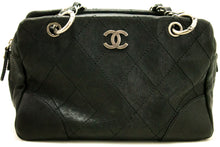CHANEL Caviar Chain Shoulder Bag Boston Black Silver Quilted j85