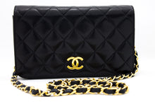 CHANEL Small Chain Shoulder Bag Clutch Black Quilted Flap Lambskin s71