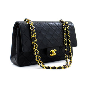 "CHANEL 2.55 Double Flap 10 ""Chain Shoulder Bag Black Lambskin b93 hannari-shop"