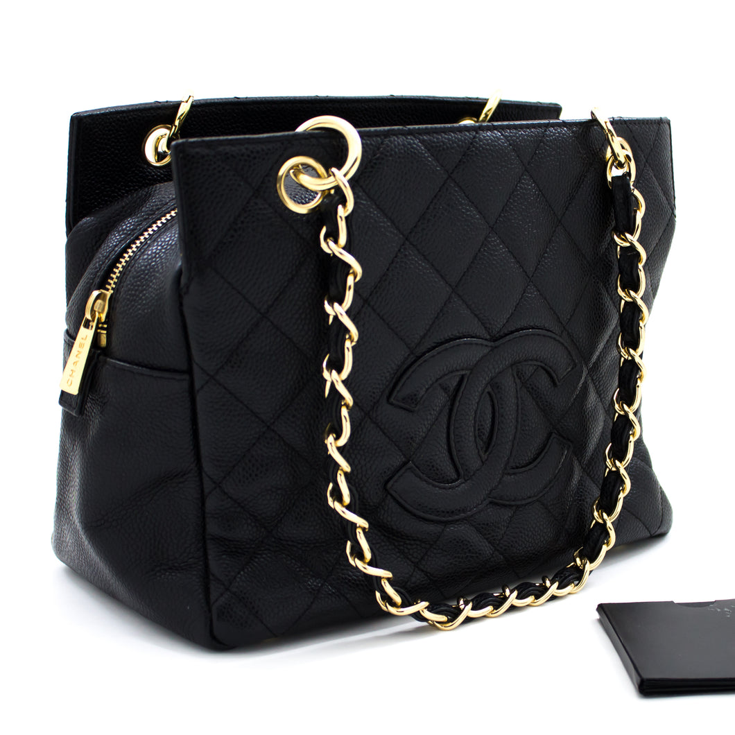 CHANEL Caviar Chain Shoulder Bag Shopping Tote Black Quilted Purse s70