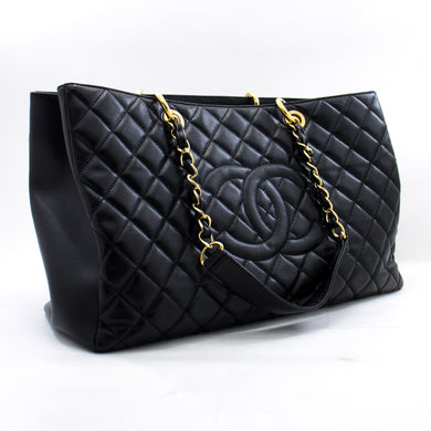 CHANEL Caviar GST Grand Shopping Tote Chain Shoulder Bag Black b90 hannari-shop