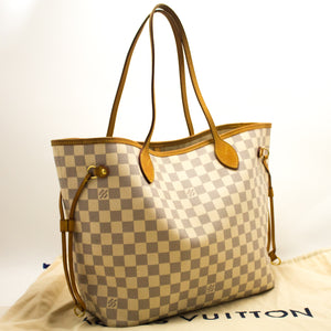 Louis Vuitton Damier Azur Neverfull MM Shoulder Bag Canvas Leather k69