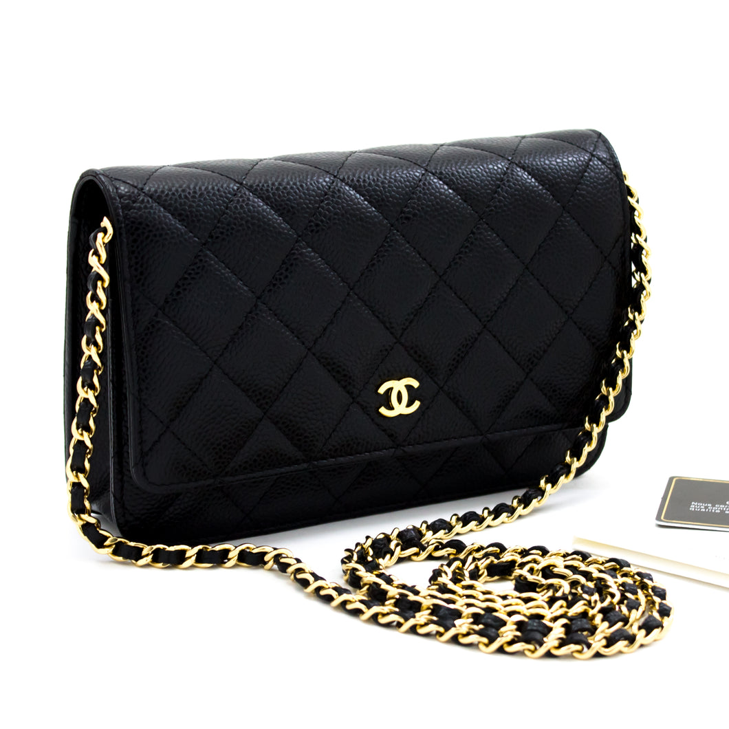 CHANEL Caviar Wallet On Chain WOC Black Shoulder Bag Crossbody s65