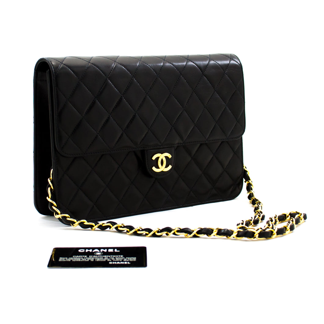 CHANEL Chain Shoulder Bag Clutch Black Quilted Flap Lambskin Purse b91 hannari-shop