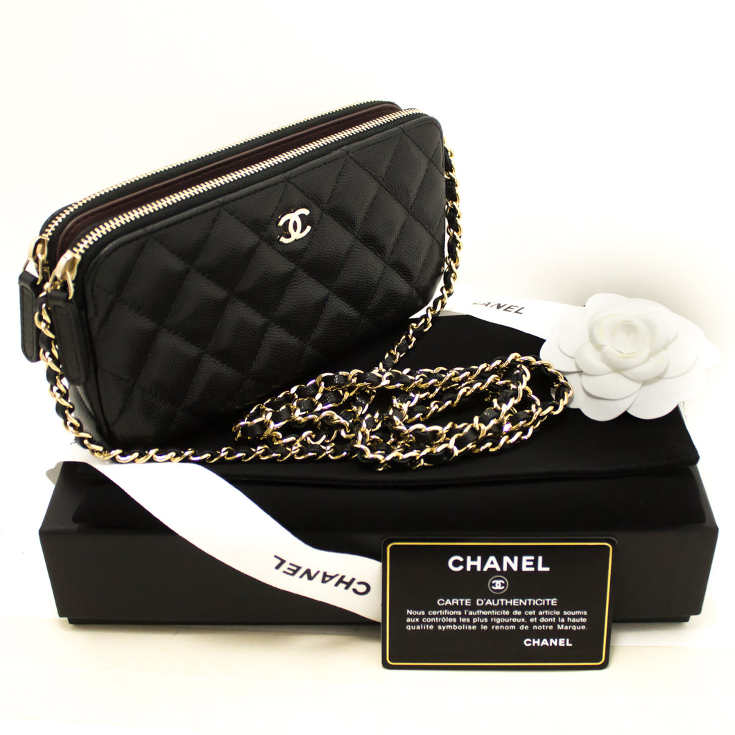 CHANEL Caviar Wallet On Chain WOC Double Zip Chain Shoulder Bag j93-Chanel-hannari-shop