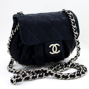 CHANEL Chain Around Navy Shoulder Bag Quilted Flap Lambskin Purse s69