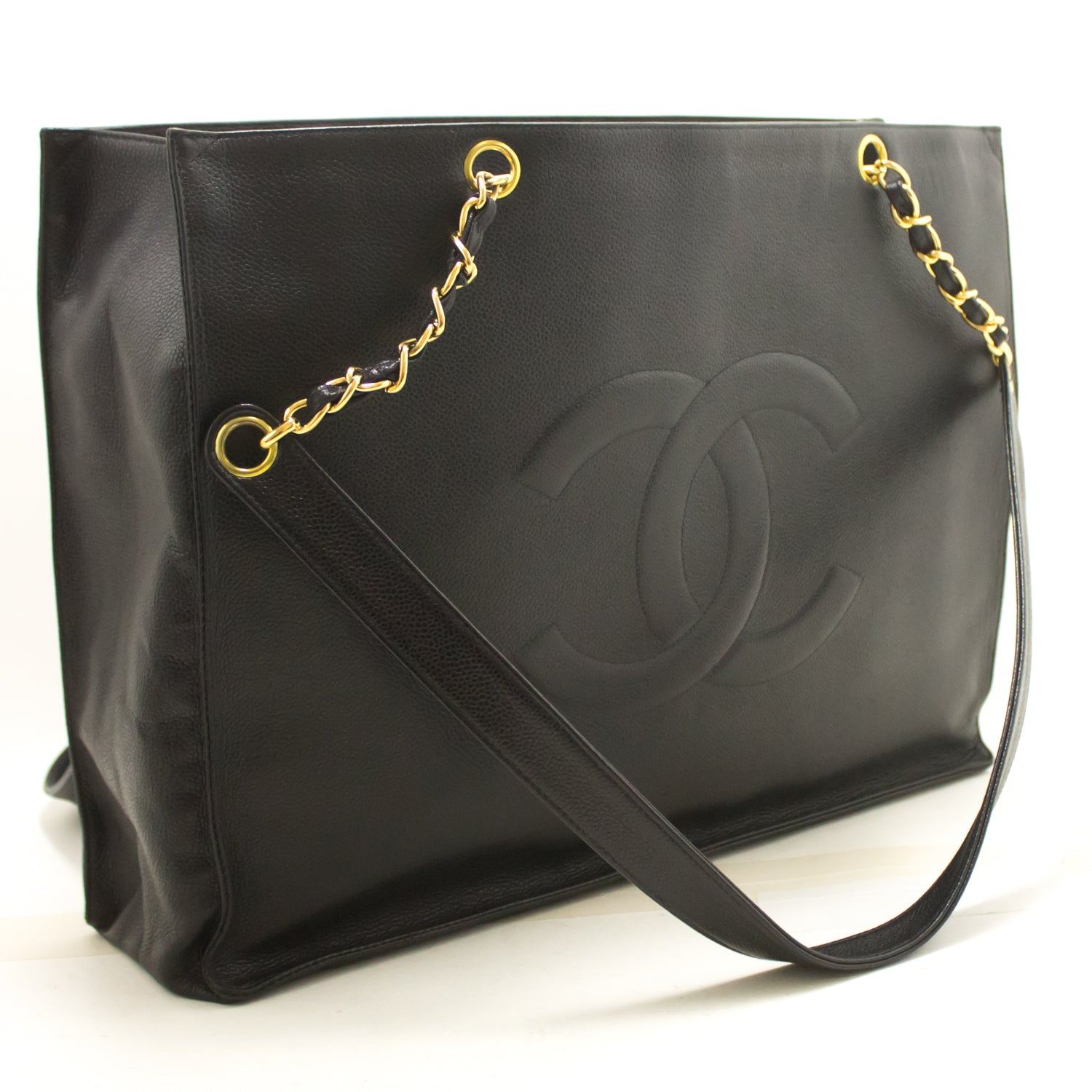 d106cbc167bf ... CHANEL Caviar Jumbo Chain Shoulder Bag Black Leather Large Big k22- Chanel-hannari- ...