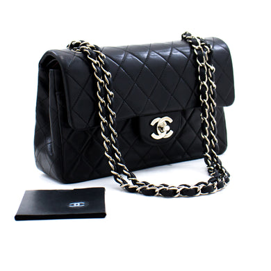 CHANEL 2.55 Double Flap Small Silver Chain Shoulder Bag Black Lamb c11 hannari-shop