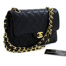 CHANEL Double Flap Small Chain Shoulder Bag Black Quilted Lambskin s64