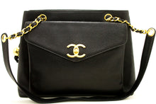 CHANEL Caviar Large Chain Shoulder Bag Black Leather Gold Zipper j56-Chanel Boutique-hannari-shop