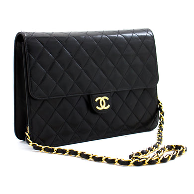CHANEL Chain Shoulder Bag Clutch Black Quilted Flap Lambskin Purse c06 hannari-shop