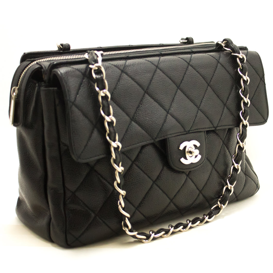 CHANEL Caviar Silver Chain Shoulder Bag Black Quilted Leather Zip j91-Chanel.-hannari-shop
