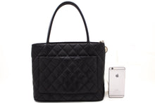 CHANEL Silver Medallion Caviar Shoulder Bag Shopping Tote Black R69