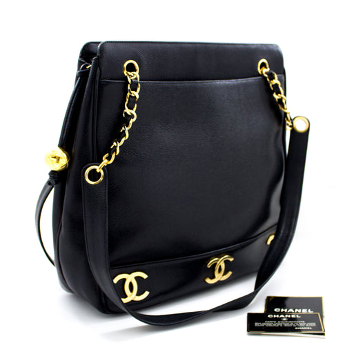 CHANEL Caviar Chain Shoulder Bag Triple Coco CC Black Leather Zip R61