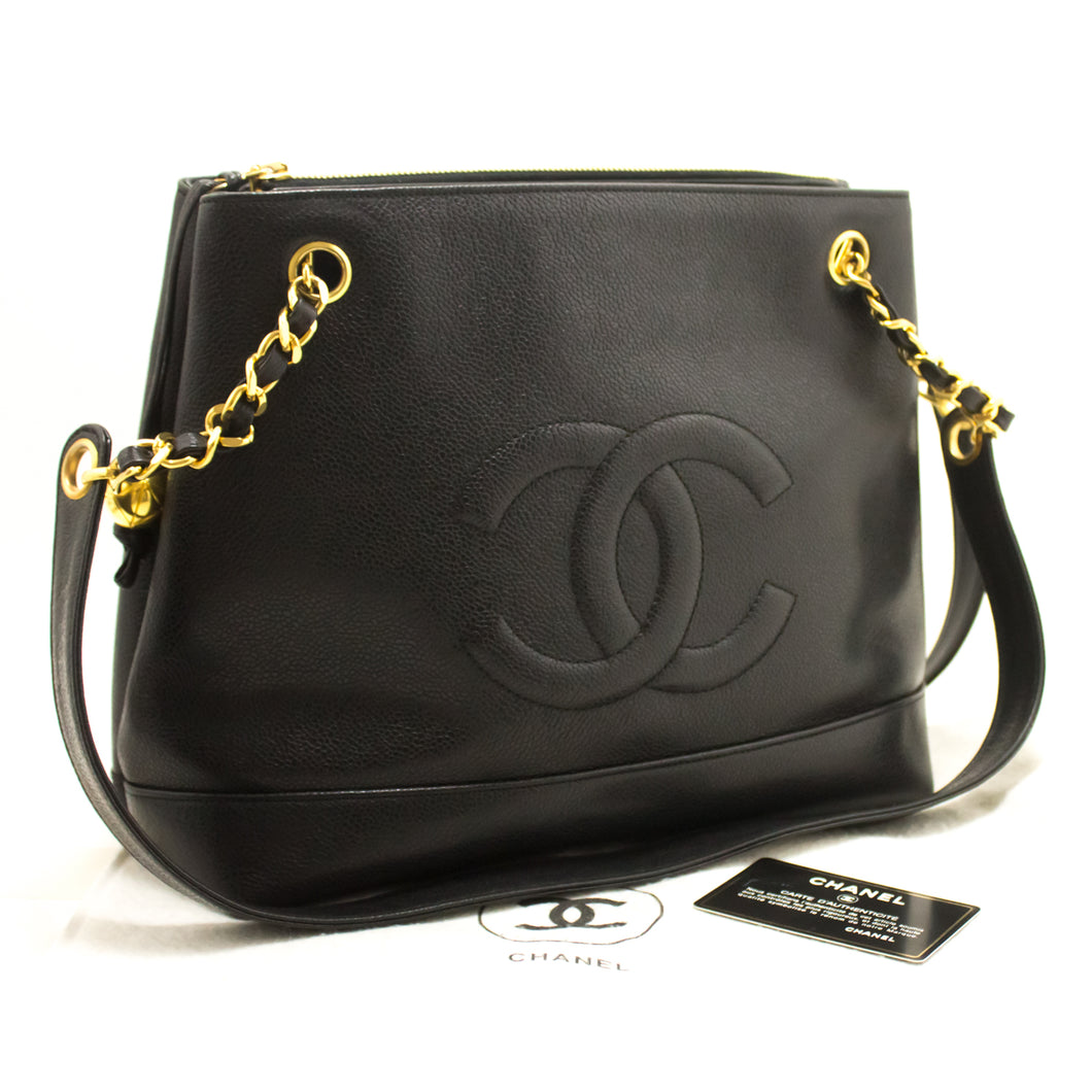 CHANEL Caviar Large Chain Shoulder Bag Black Zip Leather CC Gold j75-Chanel.-hannari-shop
