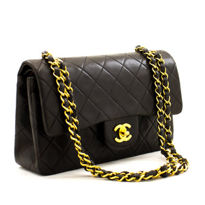 "CHANEL 2.55 Double Flap 9 ""Chain Shoulder Bag Black Lambskin z85 hannari-shop"