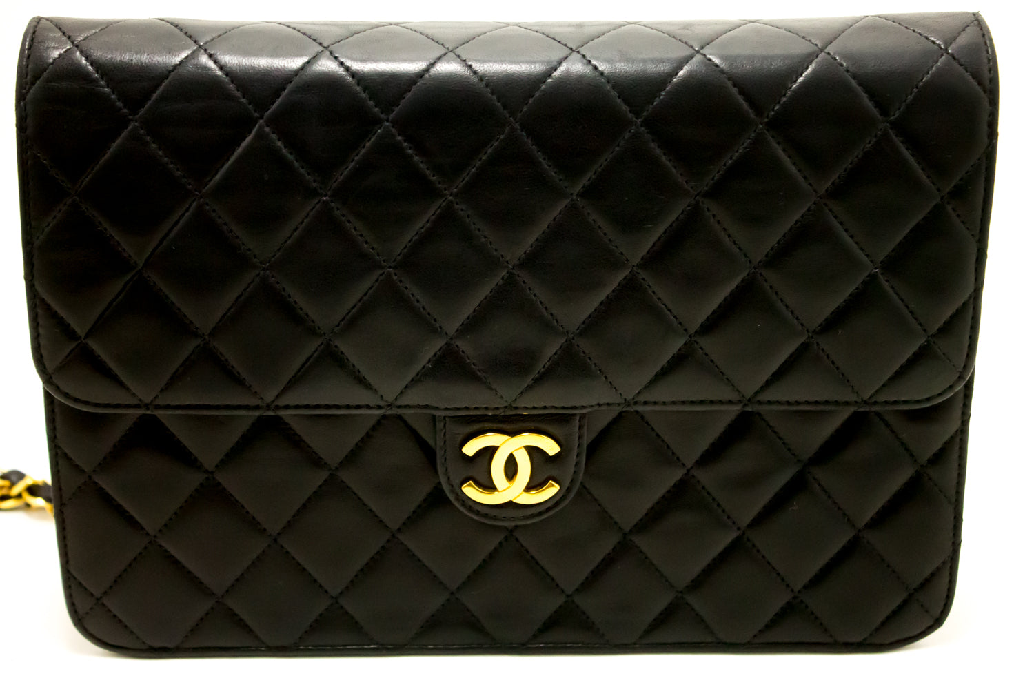 6b8c2e23bf9461 ... CHANEL Chain Shoulder Bag Clutch Black Quilted Flap Lambskin L32-Chanel-hannari-shop  ...