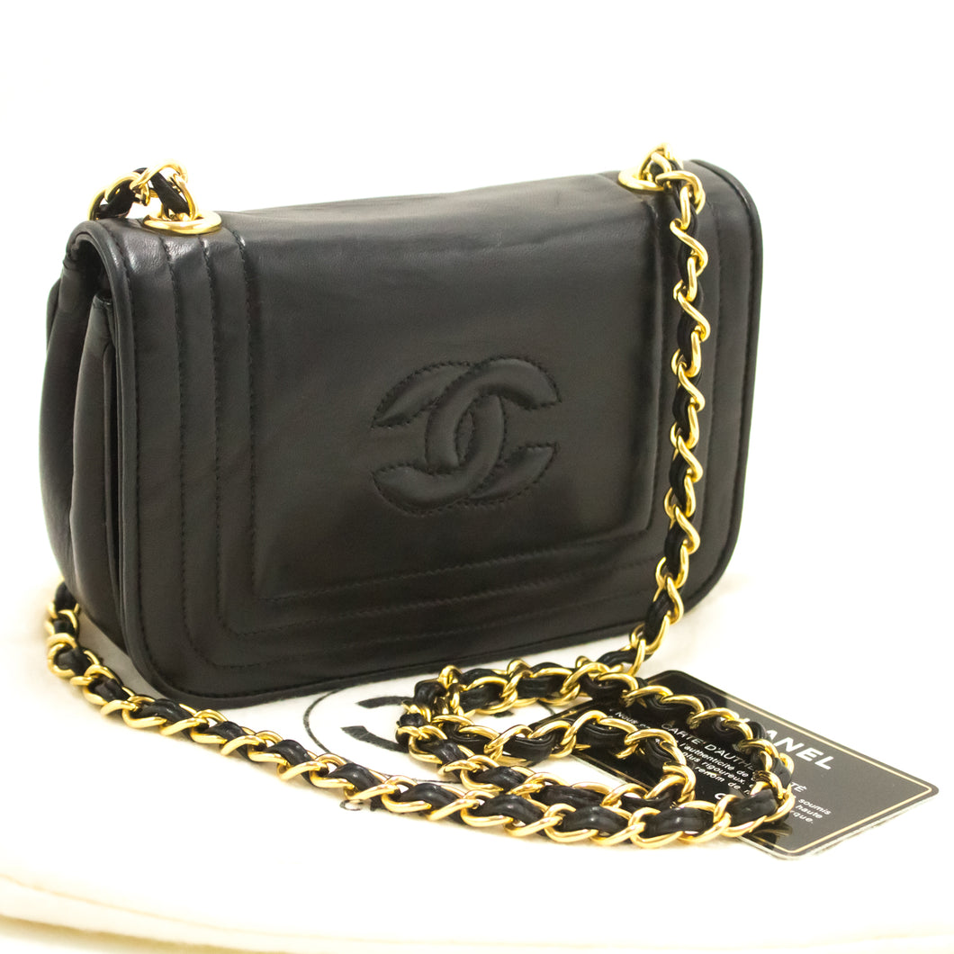 CHANEL Small Chain Shoulder Bag Black Quilted Flap Lambskin j99-Chanel.-hannari-shop