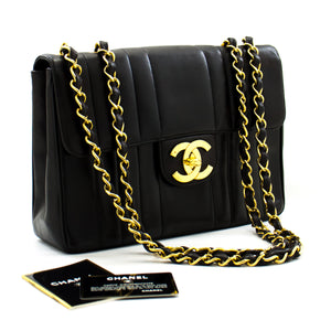 "CHANEL Jumbo 11 ""Chain Shoulder Bag Black Vertical Quilted Lamb b80 hannari-shop"