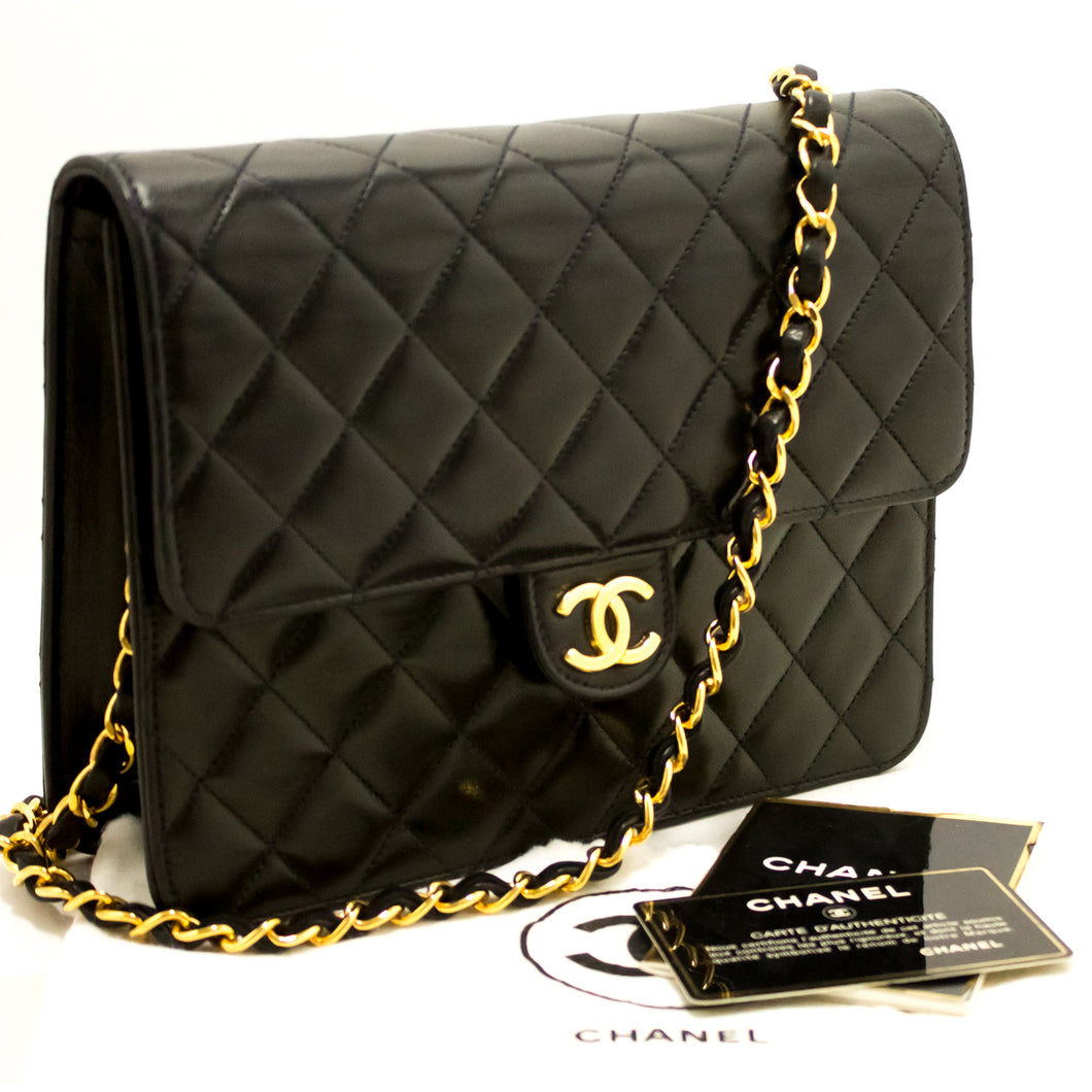 CHANEL Small Chain Shoulder Bag Clutch Black Quilted Flap Lambskin L34