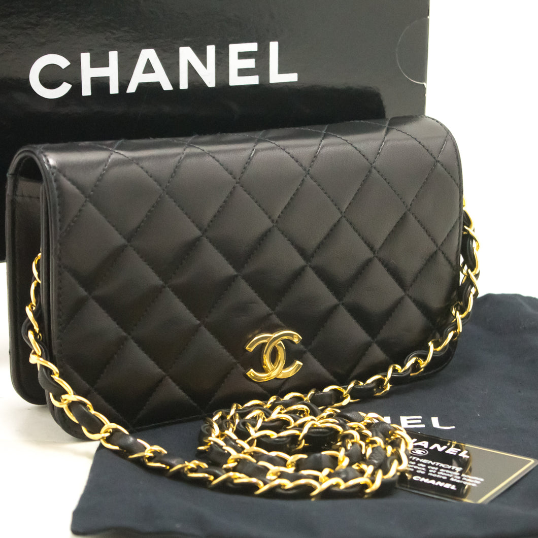 CHANEL Chain Shoulder Bag Clutch Black Quilted Flap Lambskin Gold j98-Chanel.-hannari-shop