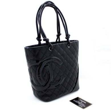 CHANEL Cambon Tote Small Shoulder Bag Black Quilted Calfskin s67