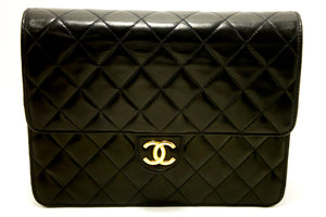 CHANEL Small Chain Shoulder Bag Clutch Black Quilted Flap Lambskin L34-Chanel-hannari-shop