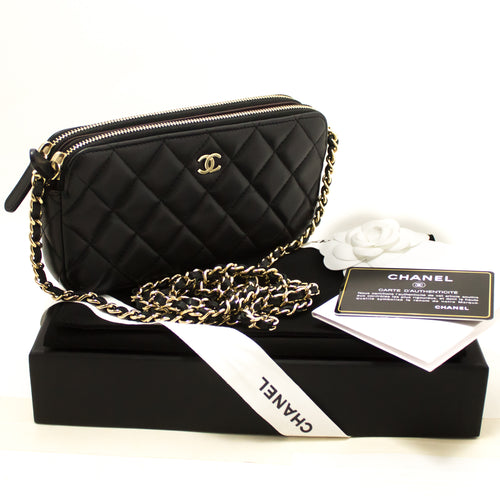CHANEL Lambskin Wallet On Chain WOC Double Zip Chain Shoulder Bag L27