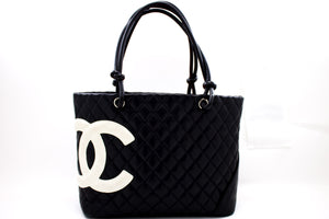 CHANEL Cambo Tote Μεγάλη τσάντα ώμου Μαύρο Λευκό Quilted Calfskin s66