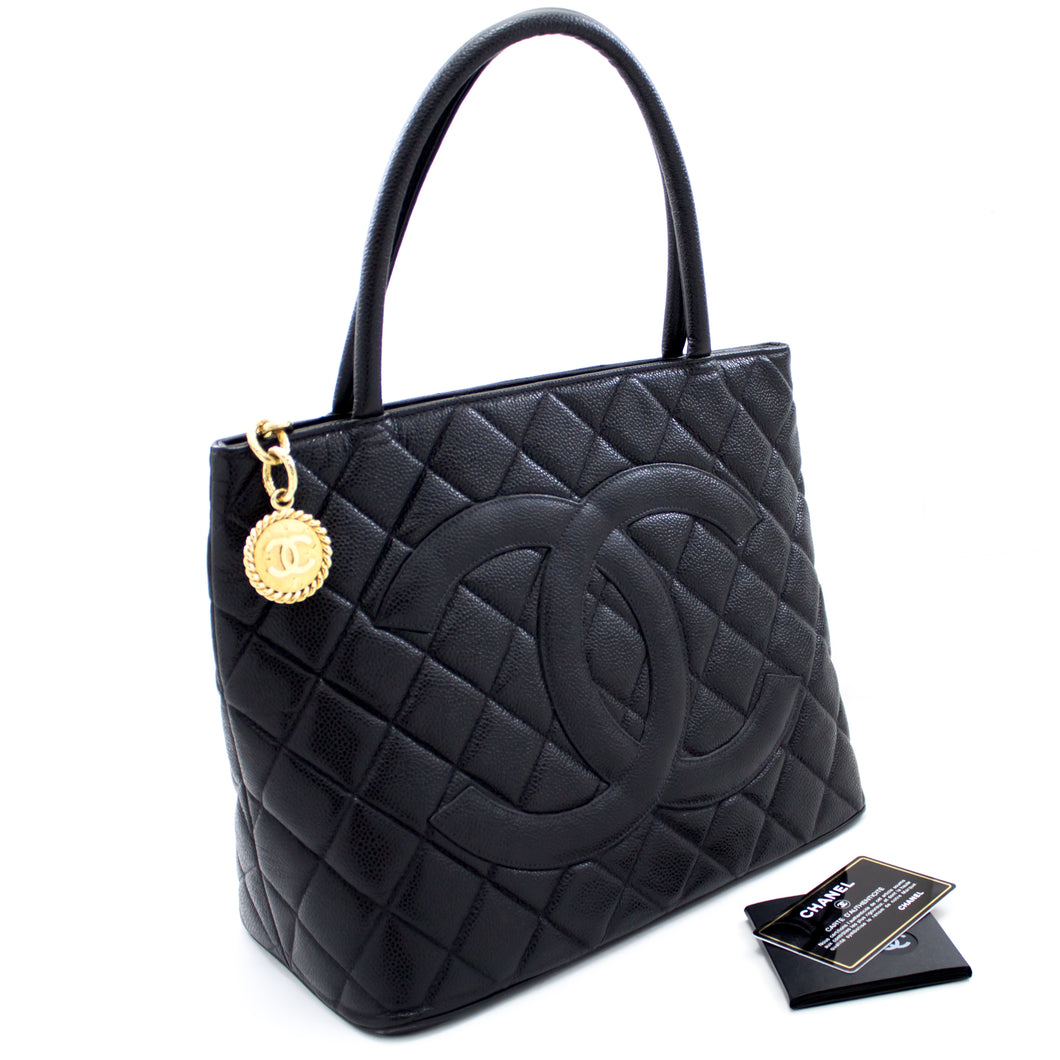 CHANEL Gold Medallion Caviar Shoulder Bag Shopping Tote Black s58