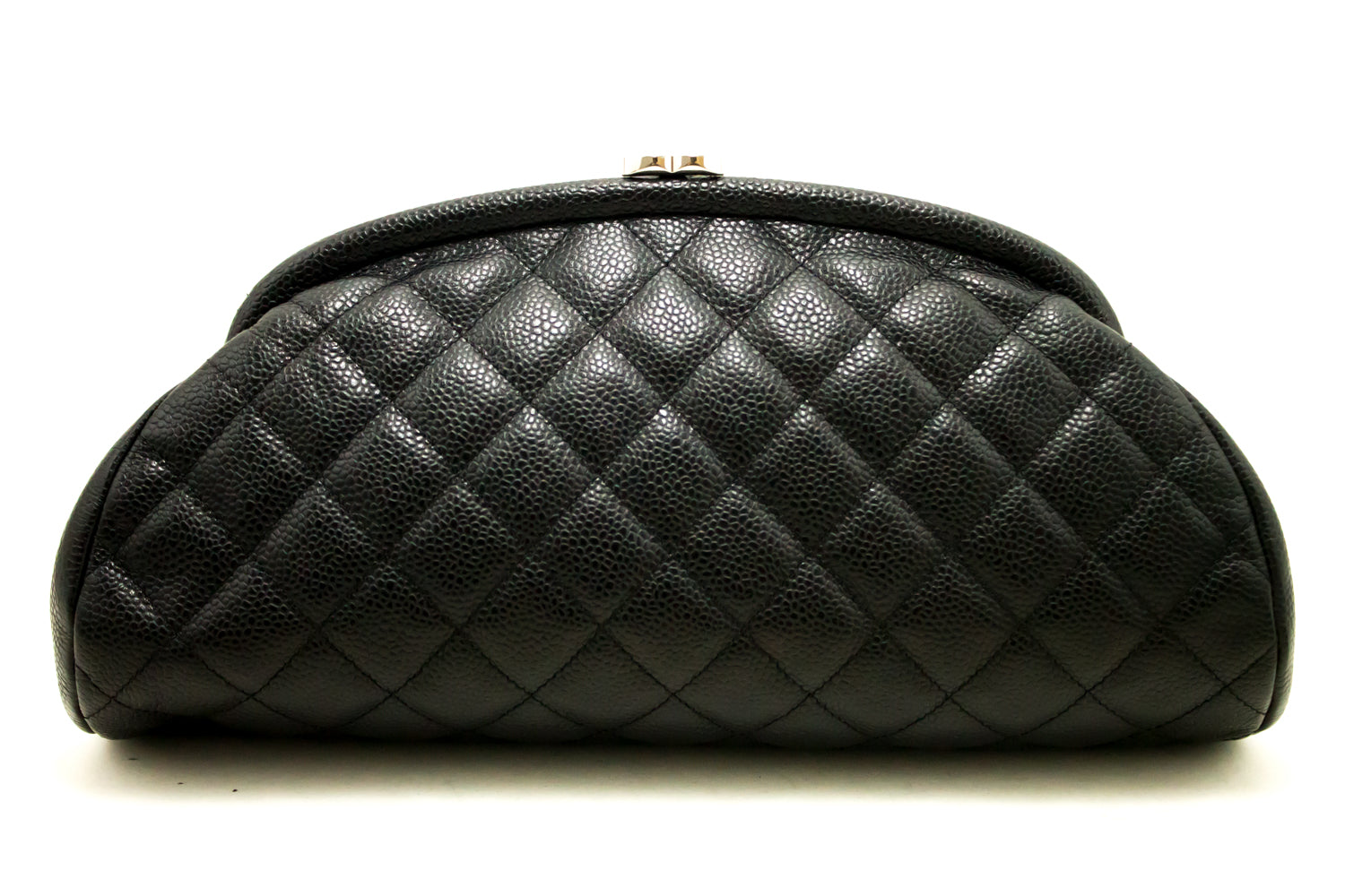 efed1b081a57 ... CHANEL Caviar Timeless Clutch Bag Black Quilted Silver Hardware k01 ...