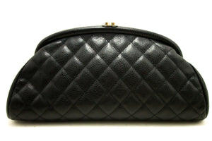 CHANEL Caviar Borsa di Clutch Timeless Black Hardware Quilted Silver Hardware k01-Chanel.-hannari-shop