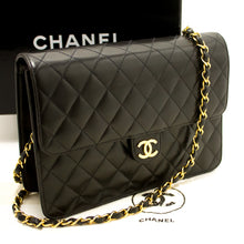 CHANEL Chain Shoulder Bag Clutch Black Quilted Flap Lambskin L37