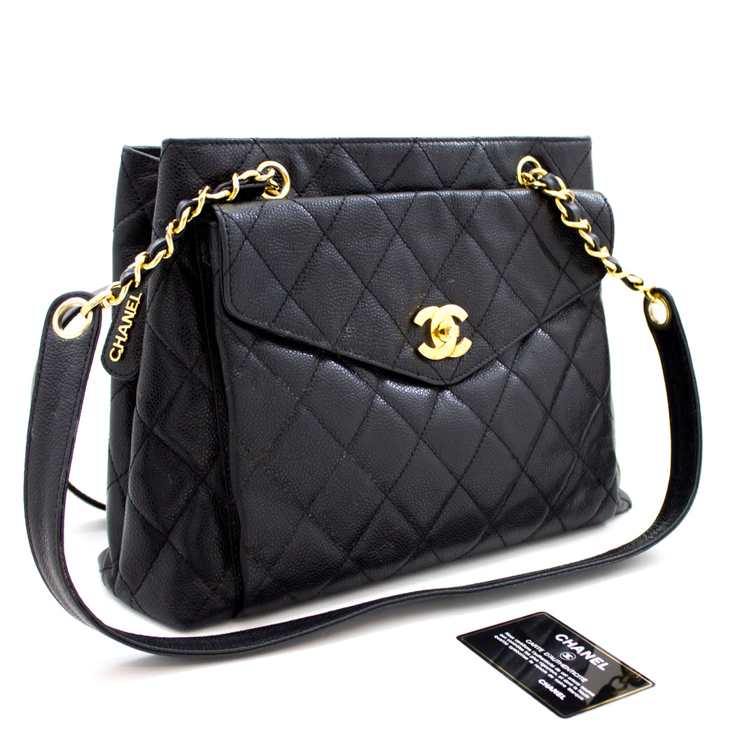 CHANEL Caviar Quilted Chain Shoulder Bag Black Leather Gold Hw s81