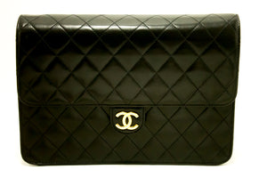 CHANEL Chain Shoulder Bag Clutch Black Quilted Flap Lambskin L37-Chanel-hannari-shop